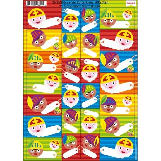 Sinterklaas cadeau stickers 26 stuks thumbnail