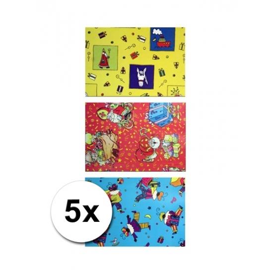 Sinterklaas folie inpakpapier 5 rollen thumbnail