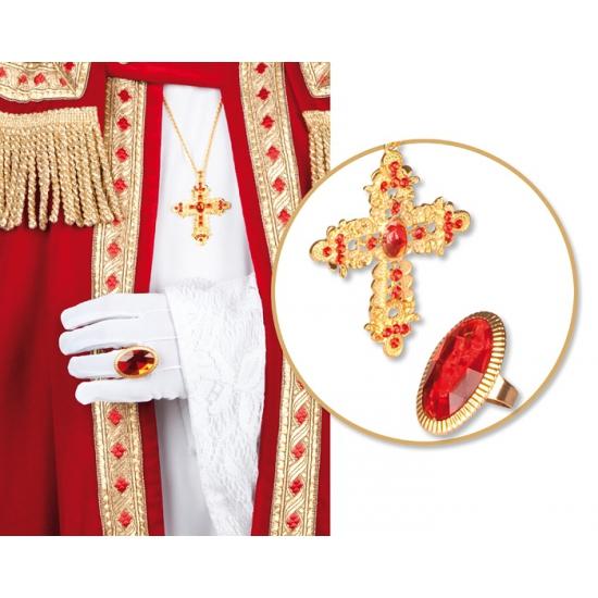 Sinterklaas thema ring en ketting met kruis thumbnail