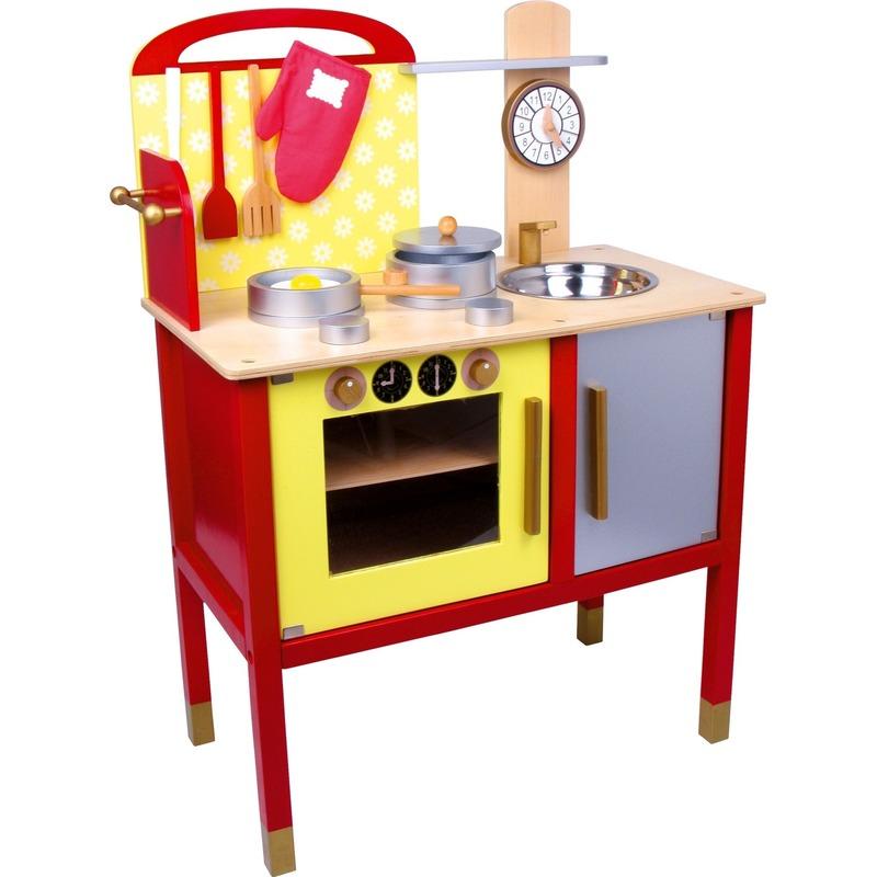 170130991Speelgoed keuken rood met geel 77 cm