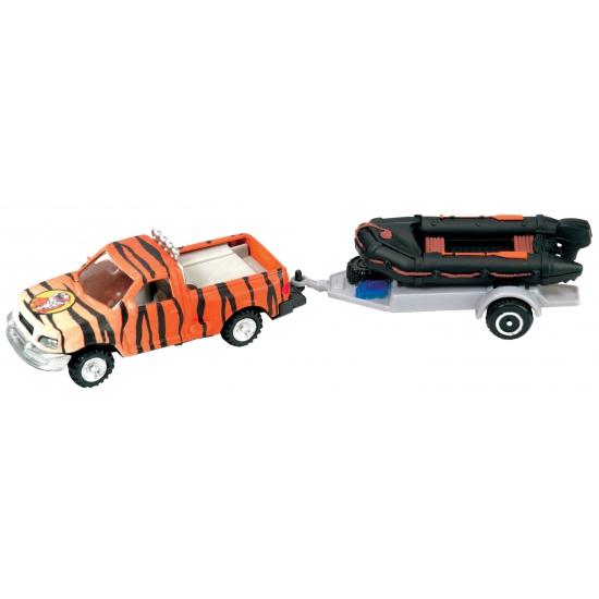 170125883Tijgerprint auto met trailer speelgoed