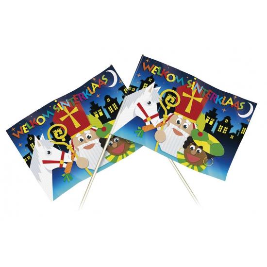 Zwaaivlaggetje met plaatjes van Sinterklaas 20 x 30 cm thumbnail