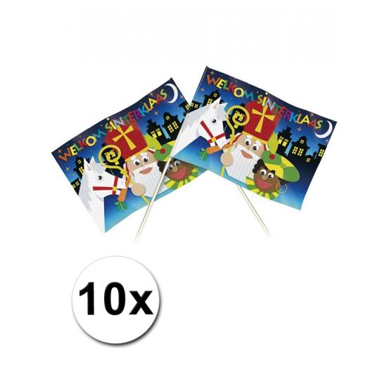 Zwaaivlaggetjes met plaatjes van Sinterklaas 20 x 30 cm 10 st thumbnail