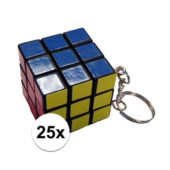 25x Mini kubus spelletjes 3 cm aan sleutelhanger