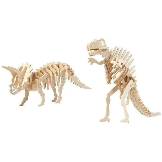 2x Triceratops en Spinosaurus houten bouwpakket