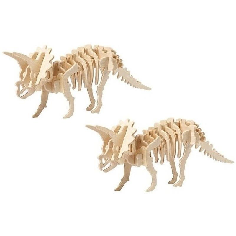 2x Triceratops houten bouwpakket