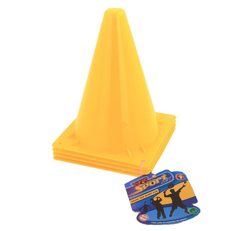 4x Sport/voetbal training pionnen geel 20 cm