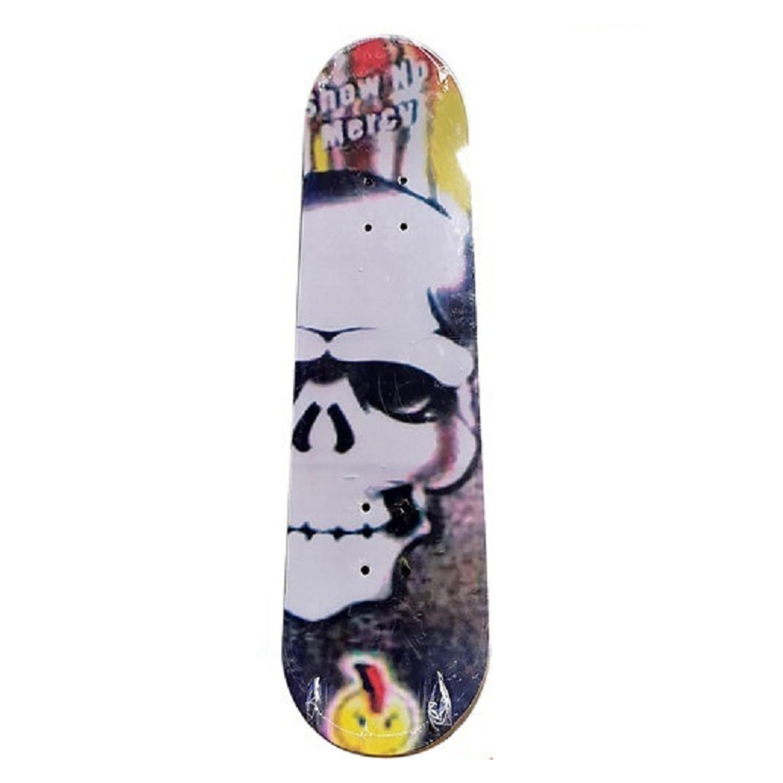 Groot houten skateboard met stoere print met schedel 81 cm