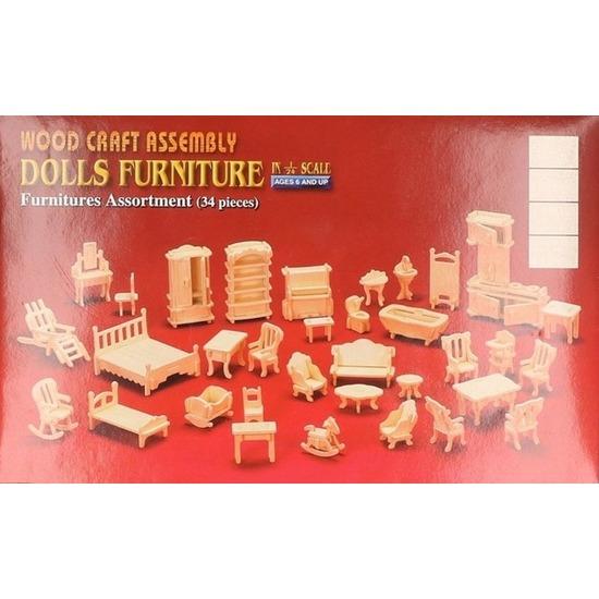 Houten bouwpakket poppenhuismeubels