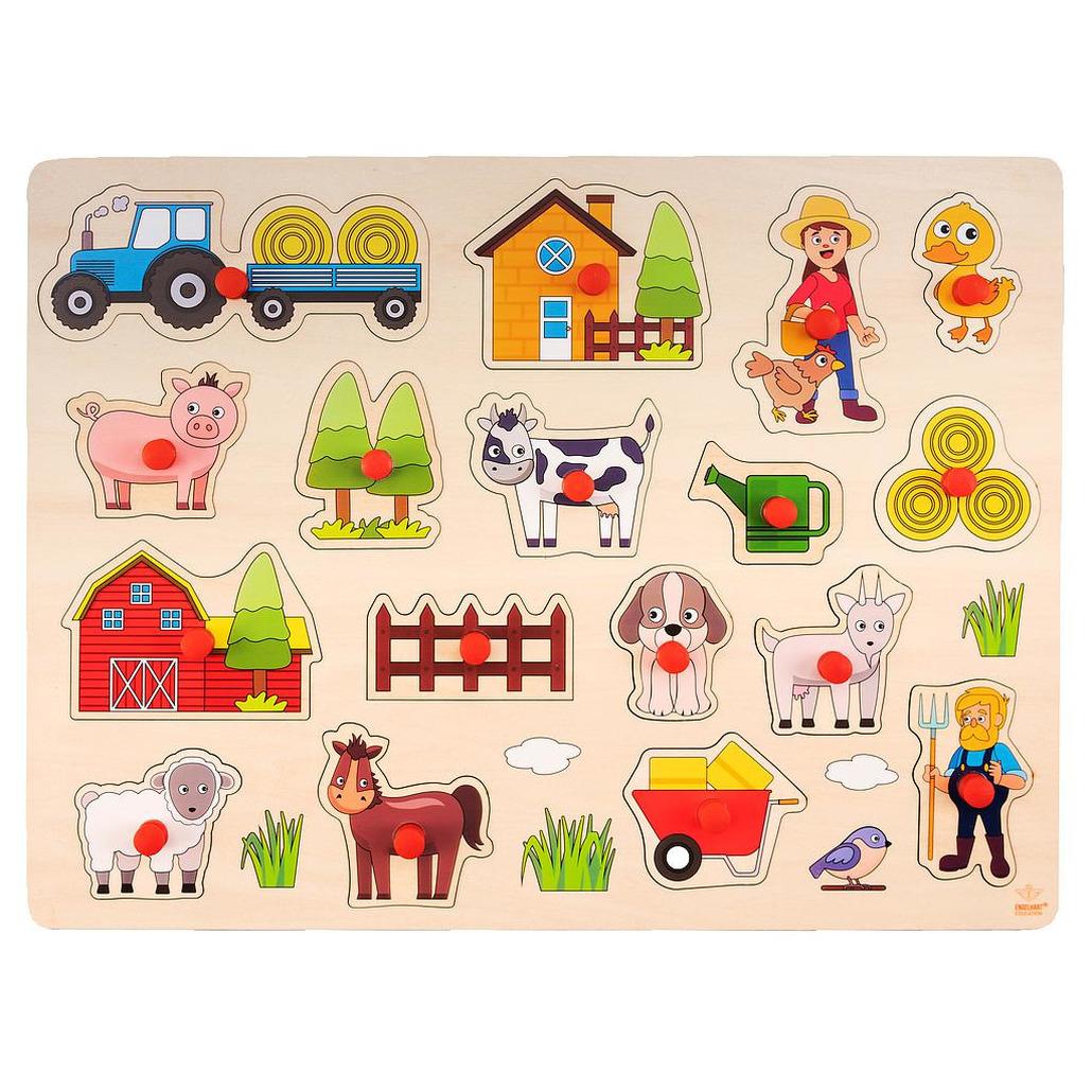 Houten knopjes/noppen speelgoed puzzel boerderij thema 40 x 30 cm