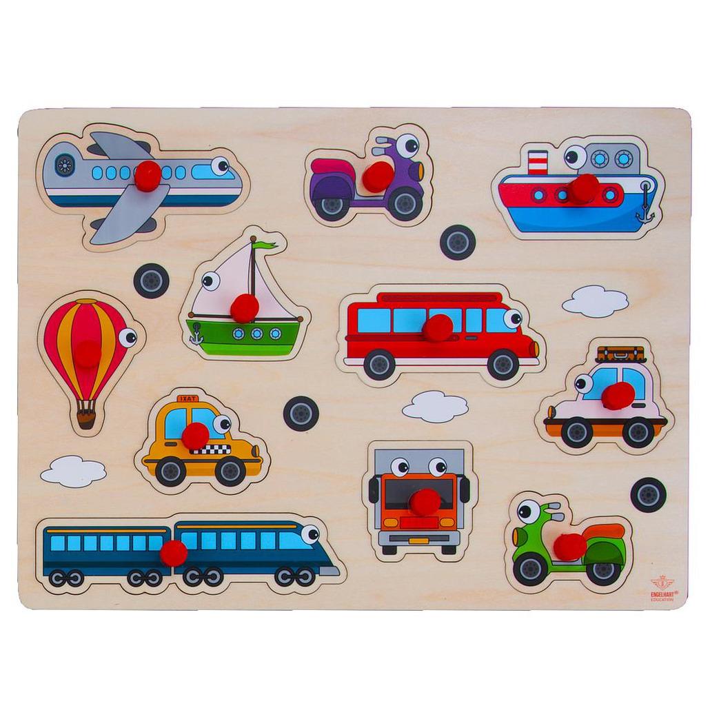 Houten knopjes/noppen speelgoed puzzel voertuigen thema 30 x 22 cm