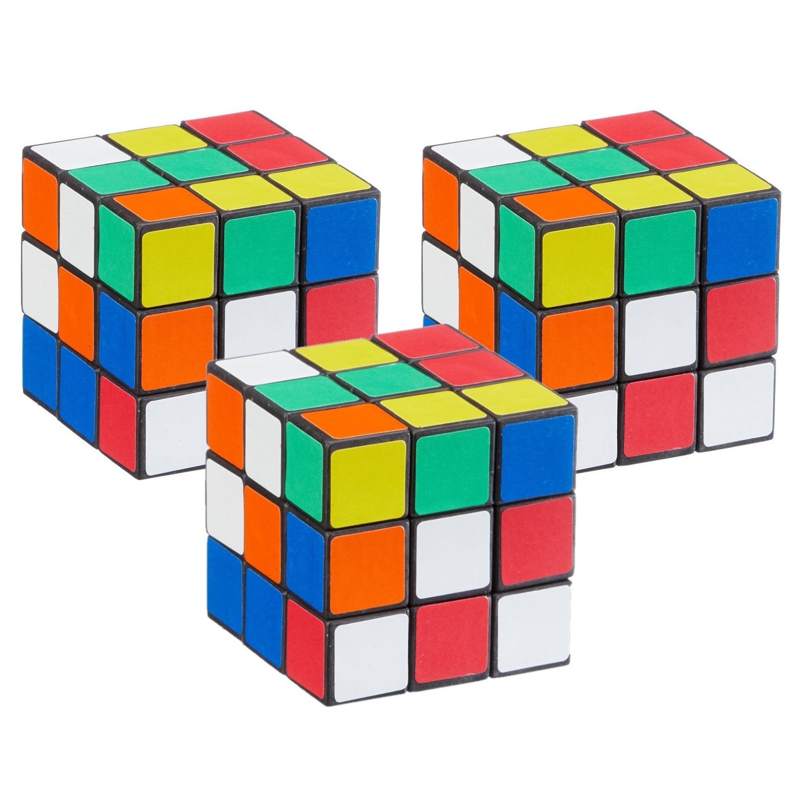 Pakket van 3x stuks kubus puzzels behendigheid spelletjes 6 cm