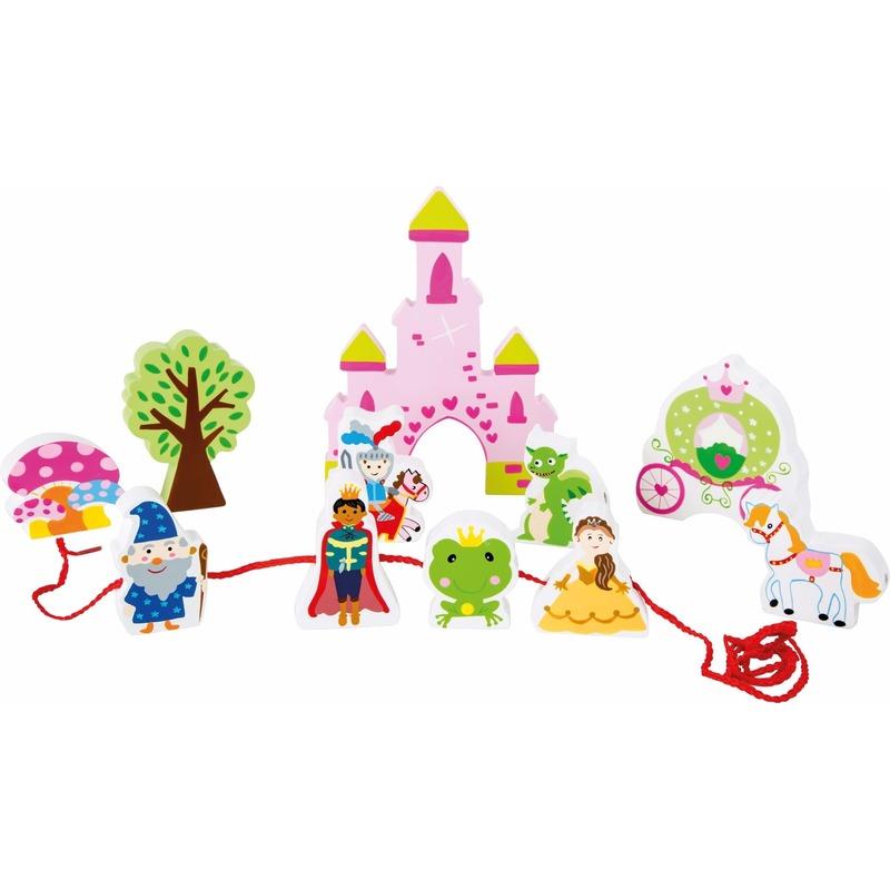 Roze houten kasteel speelset met rijgkoord