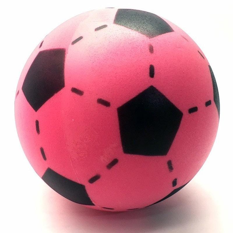 Set van 2 roze foam soft voetballen 20 cm