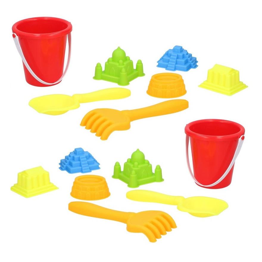 Set van 2x stuks strand/zandbak speelgoed rode emmers met vormpjes en schepjes