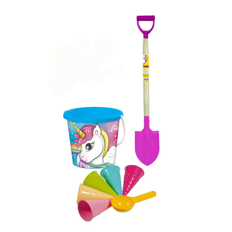 Strand/zandbak speelset met eenhoorn emmer/roze schep/6-delig ijsjes zandvormen voor kinderen