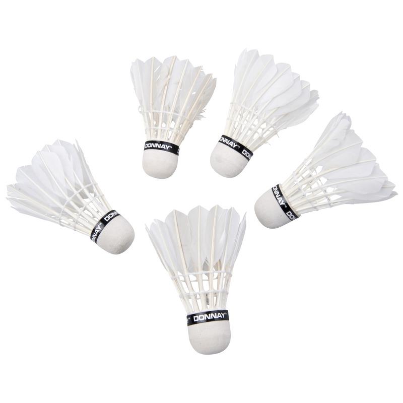 Veren badminton shuttletjes wit 5 stuks