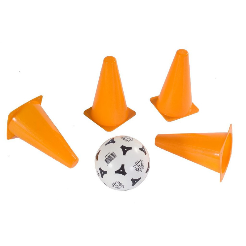 Voetbal trianing pionnen van 17 cm met bal
