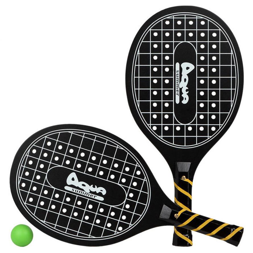 Zwarte beachball set met tennisracketprint buitenspeelgoed