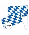100x Oktoberfest Beieren zwaaivlaggen blauw/wit