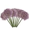 10x Aubergine paarse allium/sierui kunstbloemen 65 cm