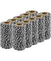 10x Zwart/wit bakkerstouw 50 meter hobby materiaal