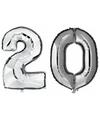 20 jaar zilveren folie ballonnen 88 cm leeftijd/cijfer