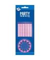 24x stuks roze/witte taartkaarsjes met houders