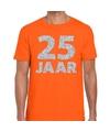25 jaar zilver glitter verjaardag/jubilieum shirt oranje heren