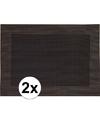 2x Placemats donkerbruin geweven/gevlochten met rand 45 x 30 cm