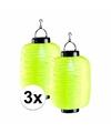 3x gele solar lampion 35 cm