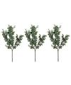 3x Grijs/groene Eucalyptus kunsttak kunstplant 65 cm