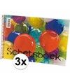 3x stuks Schetsboeken tekenpapier wit papier A4