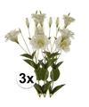 3x Wit/Groene Lisianthus kunstbloemen takken 85 cm