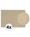 4x Placemats met geweven print beige 45 x 30 cm