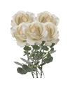 5x Creme witte rozen/roos kunstbloemen 37 cm