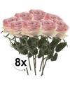 8x Licht roze rozen Simone kunstbloemen 45 cm