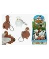 8x Sleutelhangers met poepende lama/alpaca bruin 9 cm