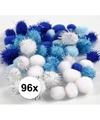 96x knutsel pompons 15-20 mm wit/blauw