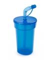 Afsluitbare drinkbeker blauw 400 ml met rietje