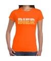 Bier tekst t-shirt oranje dames