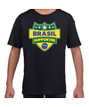 Brazilie / Brasil schild supporter  t-shirt zwart voor kinderen