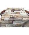 Buiten tafelkleed/tafelzeil houten planken bruin 140 x 200 cm