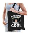 Dieren leuke chimpansee tasje zwart volwassenen en kinderen - monkeys are cool cadeau boodschappenta