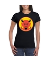Halloween rode duivel t-shirt zwart dames