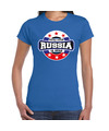 Have fear Russia is here / Rusland supporter t-shirt blauw voor dames