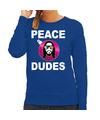 Hippie jezus Kerstbal sweater / Kerst outfit peace dudes blauw voor dames