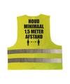 Houd 1,5 meter afstand pictogram vestje / hesje geel met reflecterende strepen voor volwassenen