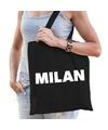 Katoenen Milaan/wereldstad tasje Milan zwart