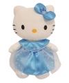 Knuffeldier Hello Kitty in blauwe jurk